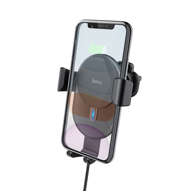 hoco cw25 delight in car wireless charging holder front