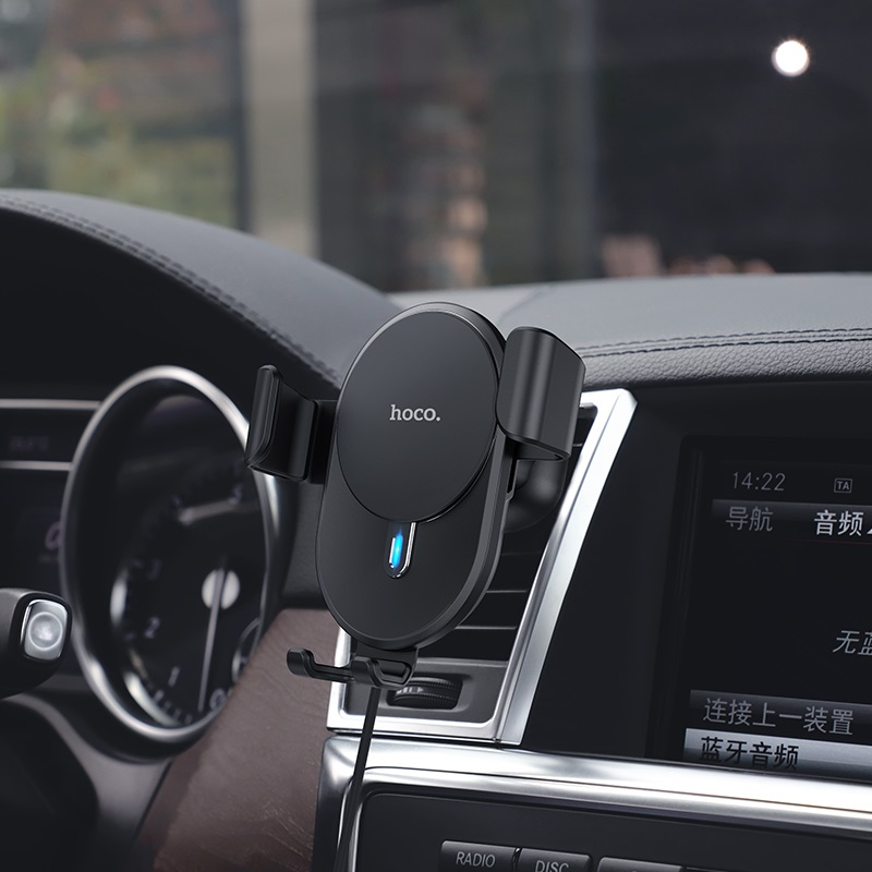 hoco cw25 delight in car wireless charging holder interior