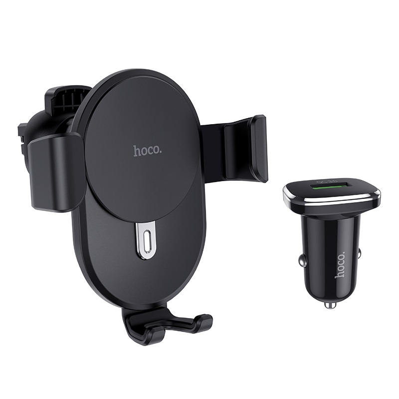 hoco cw25 delight in car wireless charging holder set with charger front