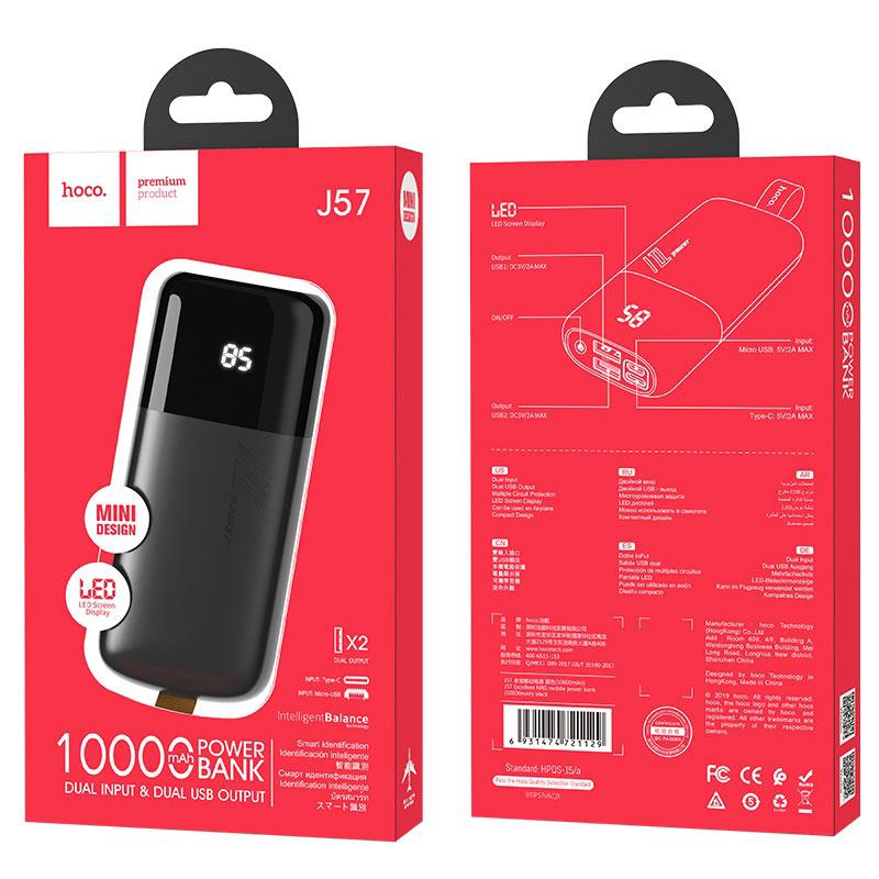 hoco j57 excellent nrg портативный аккумулятор 10000mah упаковка черный