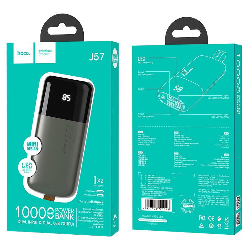 hoco j57 excellent nrg портативный аккумулятор 10000mah упаковка темно зеленый