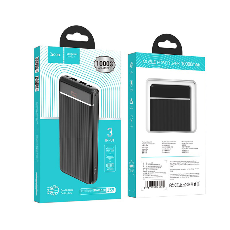 hoco j59 famous mobile power bank 10000mah package front back