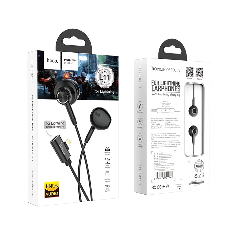 hoco l11 jasmin earphones for lightning with charging port package