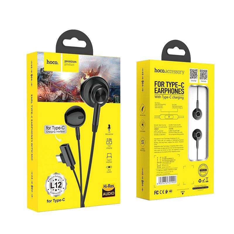 hoco l12 earl type c наушники с микрофоном и зарядным портом упаковка