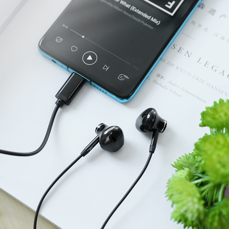 hoco l13 grandee type c digital wired earphones interior black
