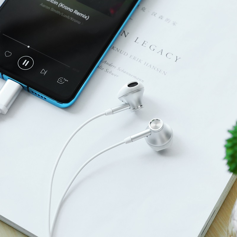 hoco l13 grandee type c digital wired earphones interior white