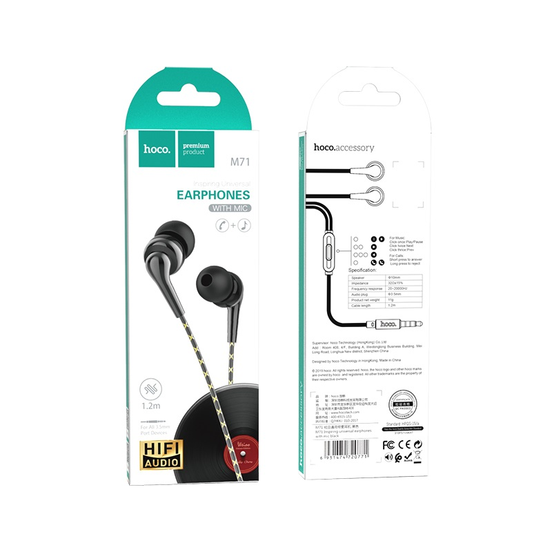 hoco m71 inspiring universal earphones with mic package black