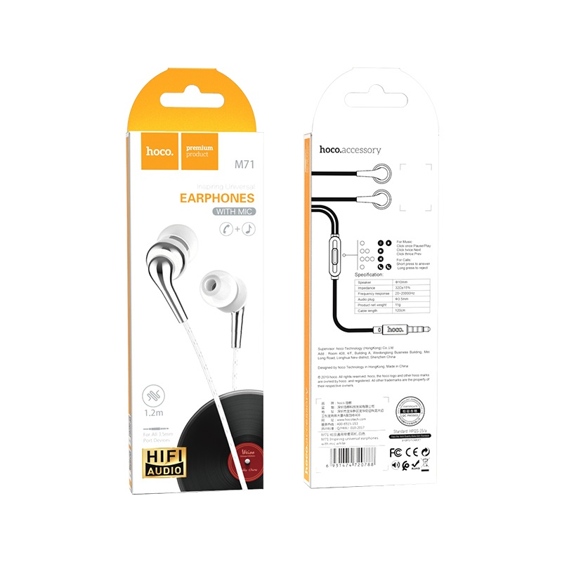 hoco m71 inspiring universal earphones with mic package white