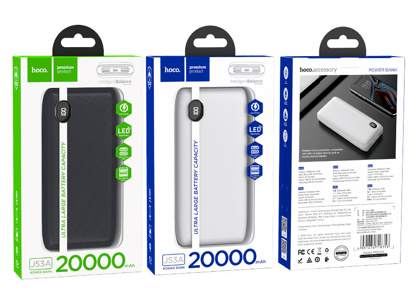 hoco news j53a exceptional mobile power bank 20000mah packages