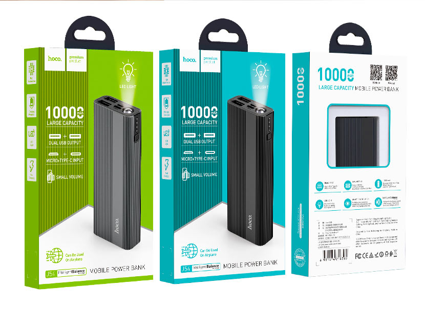 hoco news j54 spirit power mobile power bank 10000mah packages