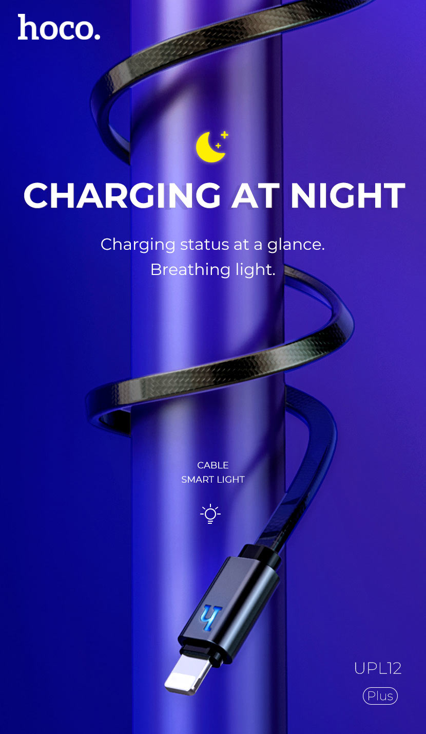 hoco news upl12 plus jelly braided charging data cable smart light smart en