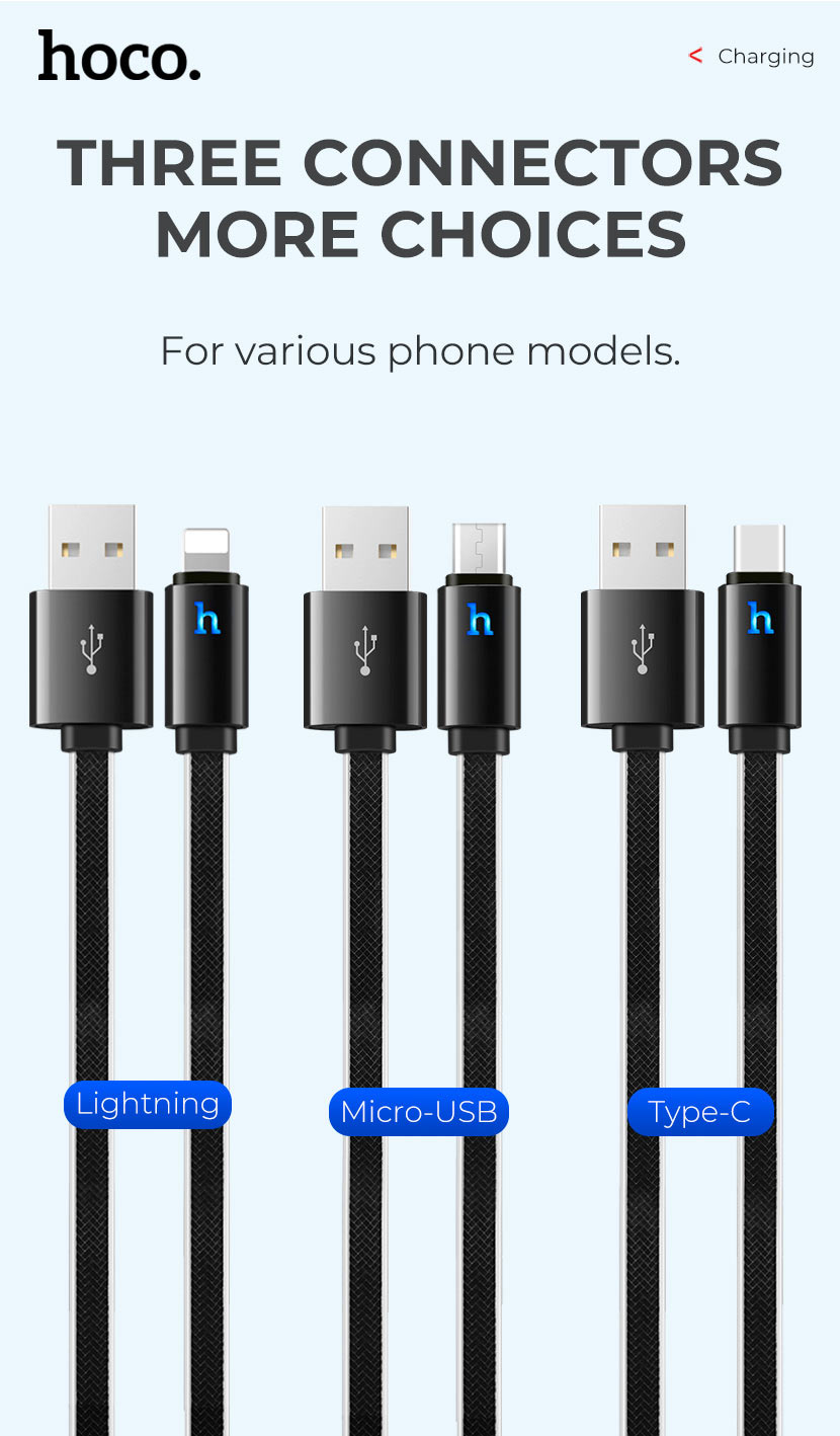 hoco news upl12 plus jelly braided charging data cable smart light types en