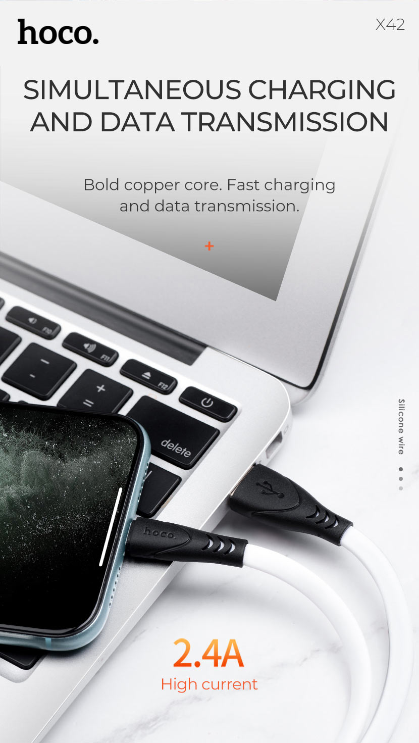 hoco news x42 soft silicone charging cable transfer en