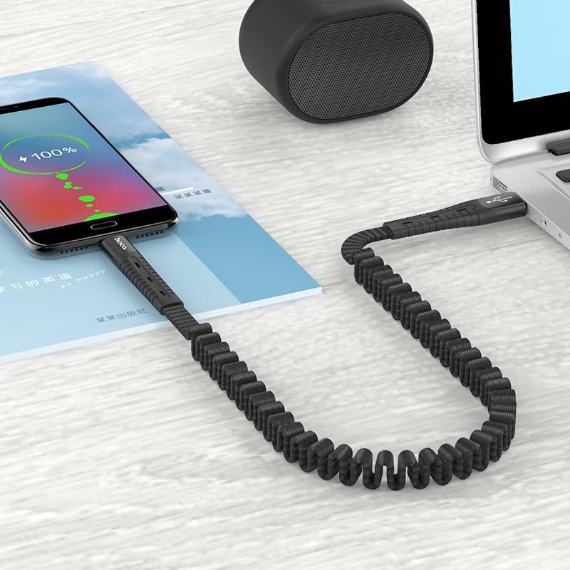 hoco u78 cotton treasure эластичный зарядный дата кабель для micro usb передача черный
