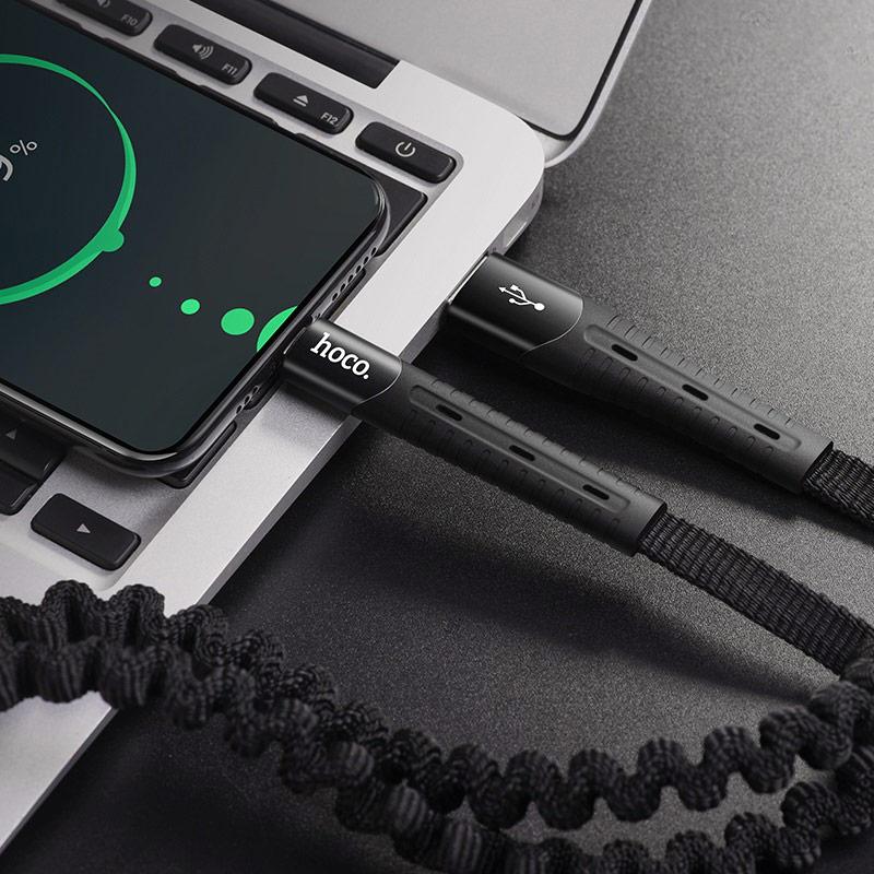 hoco u78 cotton treasure elastic charging data cable for usb c interior
