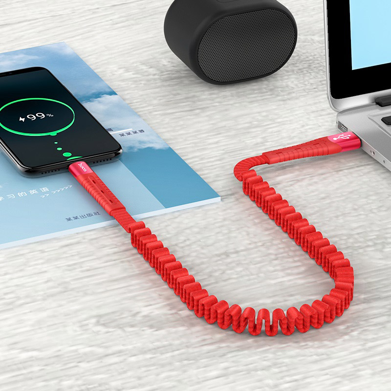 hoco u78 cotton treasure elastic charging data cable for usb c transfer red
