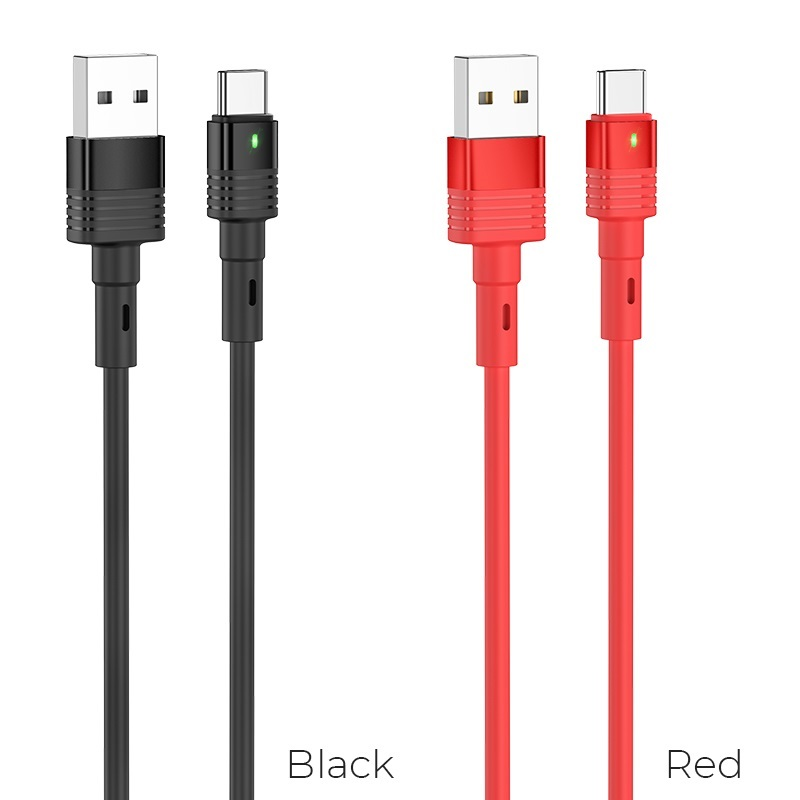 hoco u82 cool grace silicone charging data cable for type c colors