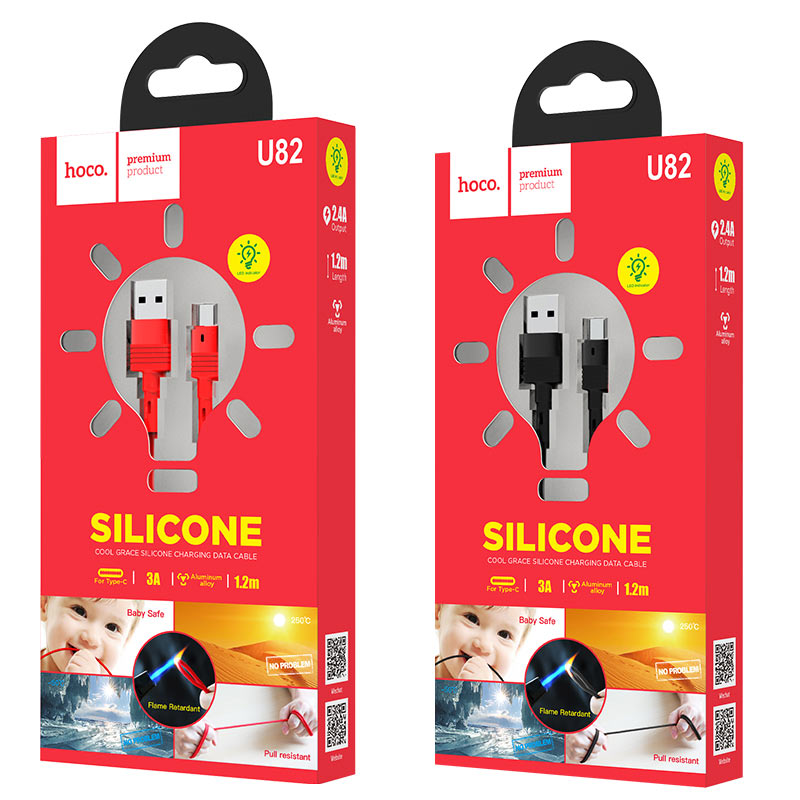 hoco u82 cool grace silicone charging data cable for type c packages
