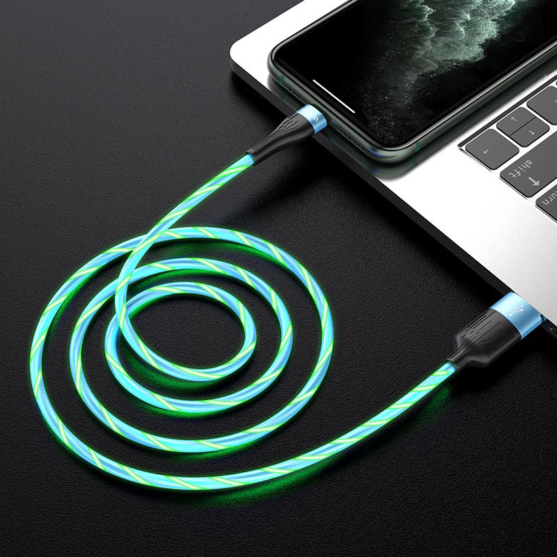 hoco u85 charming night charging data cable for lightning interior blue