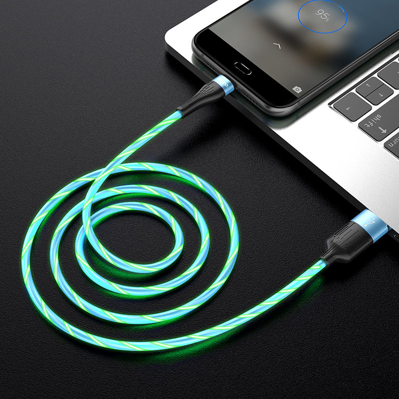 hoco u85 charming night charging data cable for micro usb interior blue