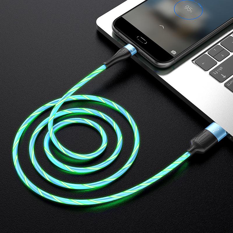 hoco u85 charming night кабель для зарядки и передачи данных для micro usb интерьер синий