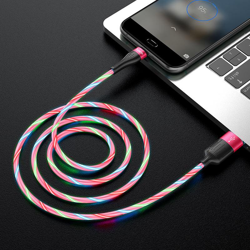 hoco u85 charming night кабель для зарядки и передачи данных для micro usb интерьер красный