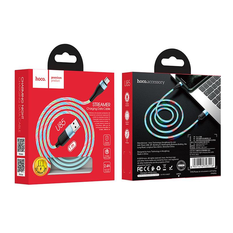 hoco u85 charming night кабель для зарядки и передачи данных для micro usb упаковка синий