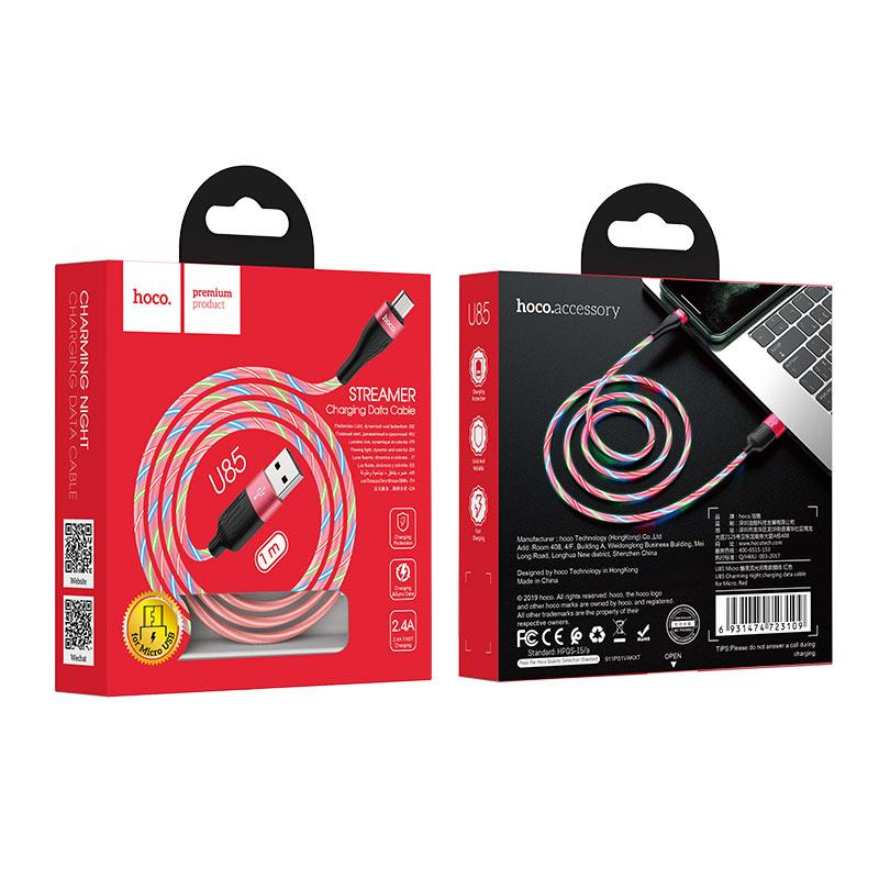 hoco u85 charming night кабель для зарядки и передачи данных для micro usb упаковка красный