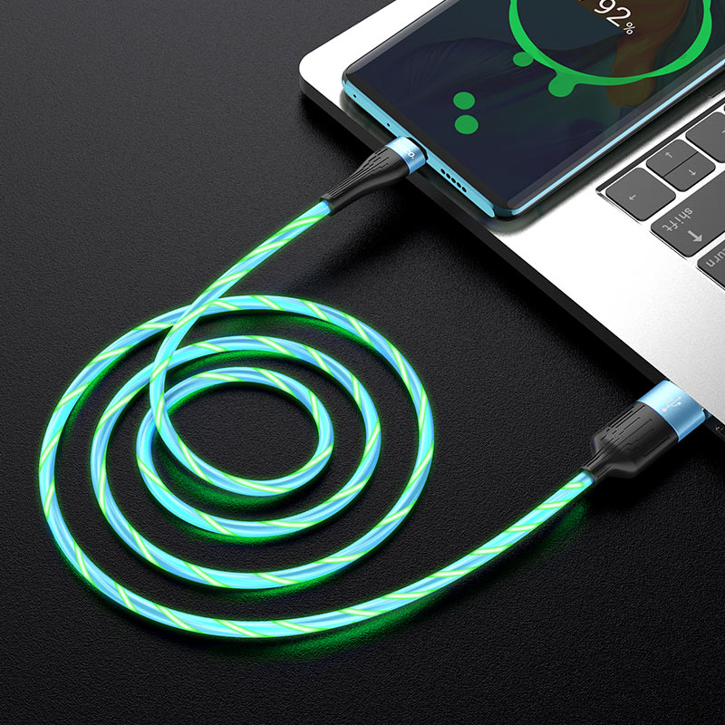 hoco u85 charming night charging data cable for type c interior blue