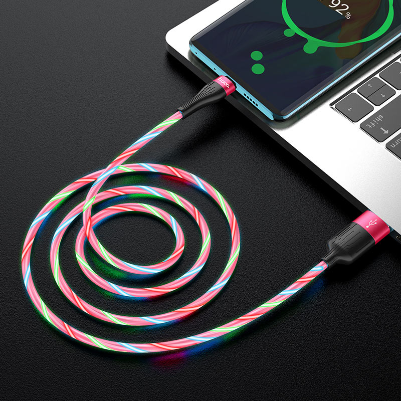 hoco u85 charming night charging data cable for type c interior red