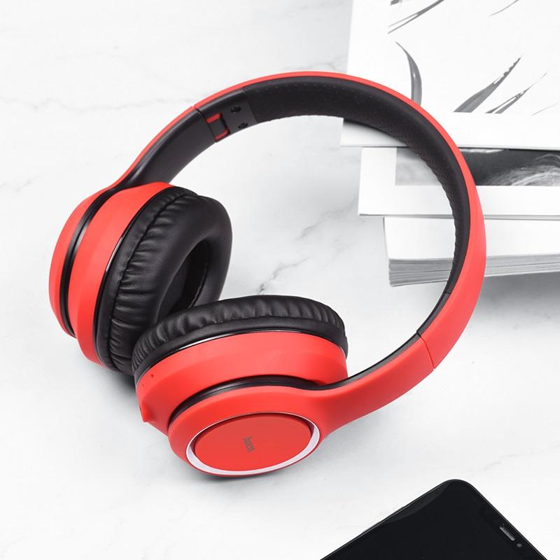 hoco w28 journey wireless headphones interior red