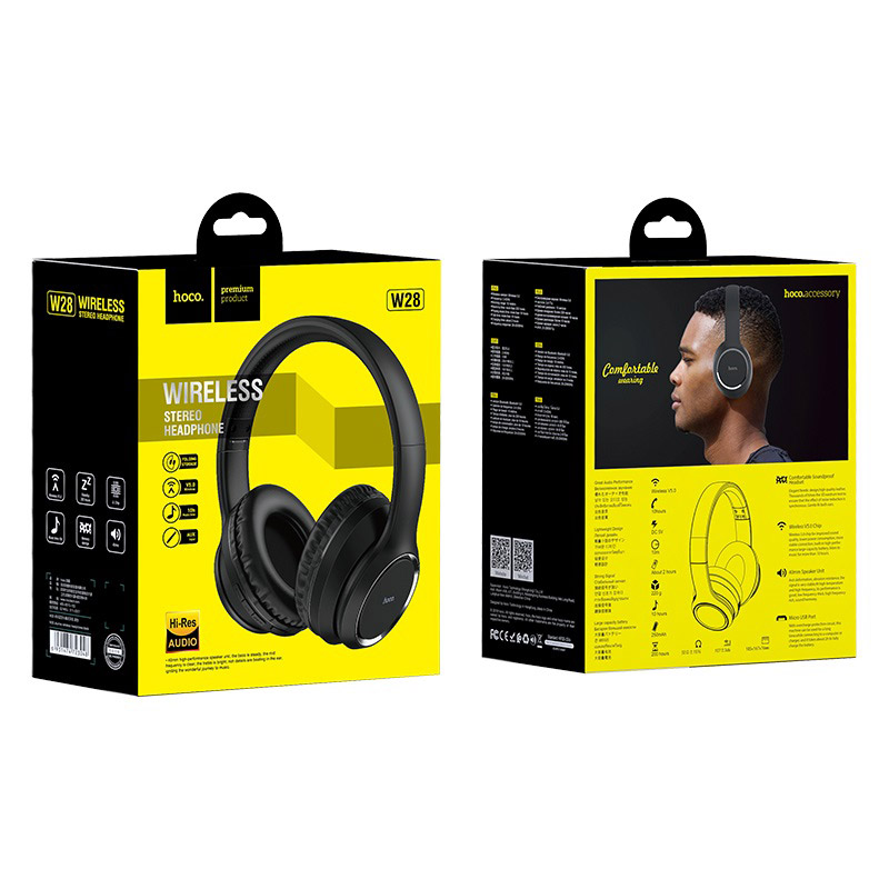 hoco w28 journey wireless headphones package front back black