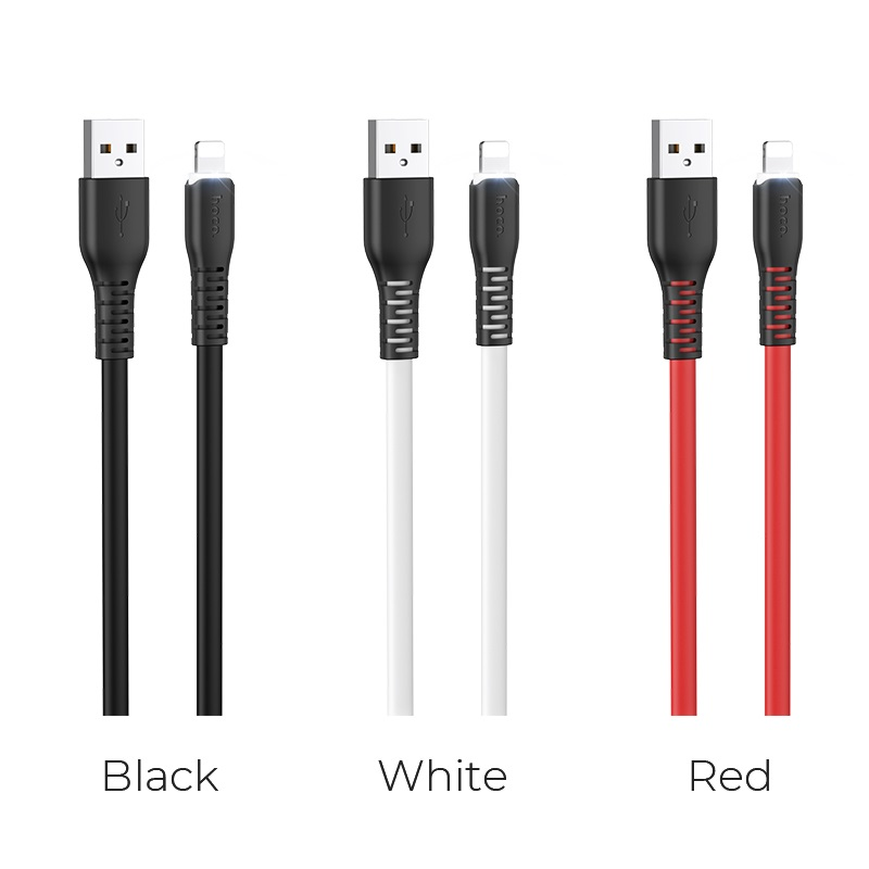 hoco x44 soft silicone charging data cable for lightning colors