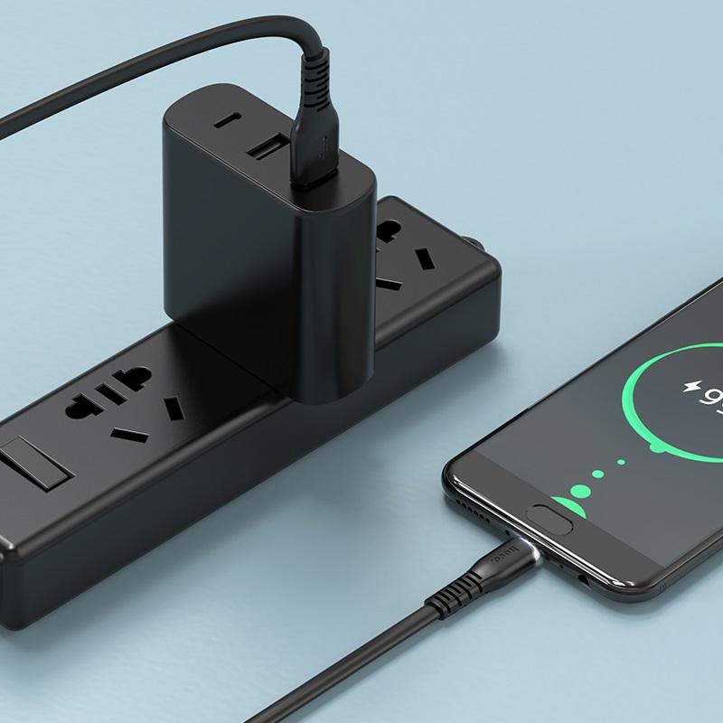 hoco x44 soft silicone зарядный дата кабель для micro usb интерьер черный