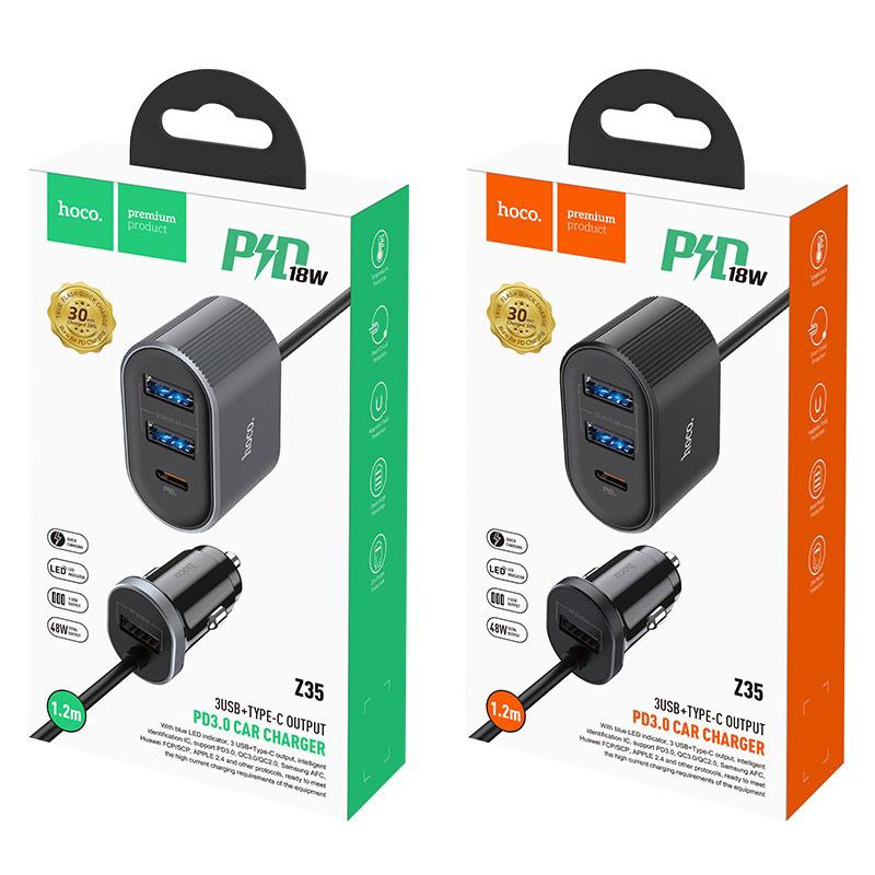 hoco z35 companheiro pd30 автомобильное зарядное устройство для переднего заднего сидений упаковки