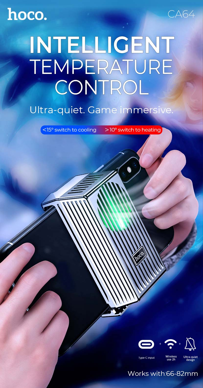 hoco news ca64 caesar temperature control gaming phone holder smart en