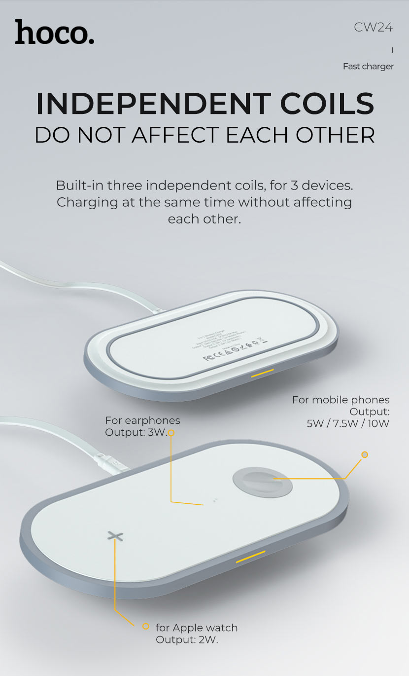 hoco news cw24 handsome 3in1 wireless fast charger coils en