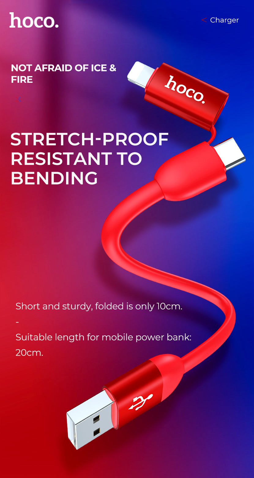 hoco news u87 cool 2in1 silicone charging data cable proof en