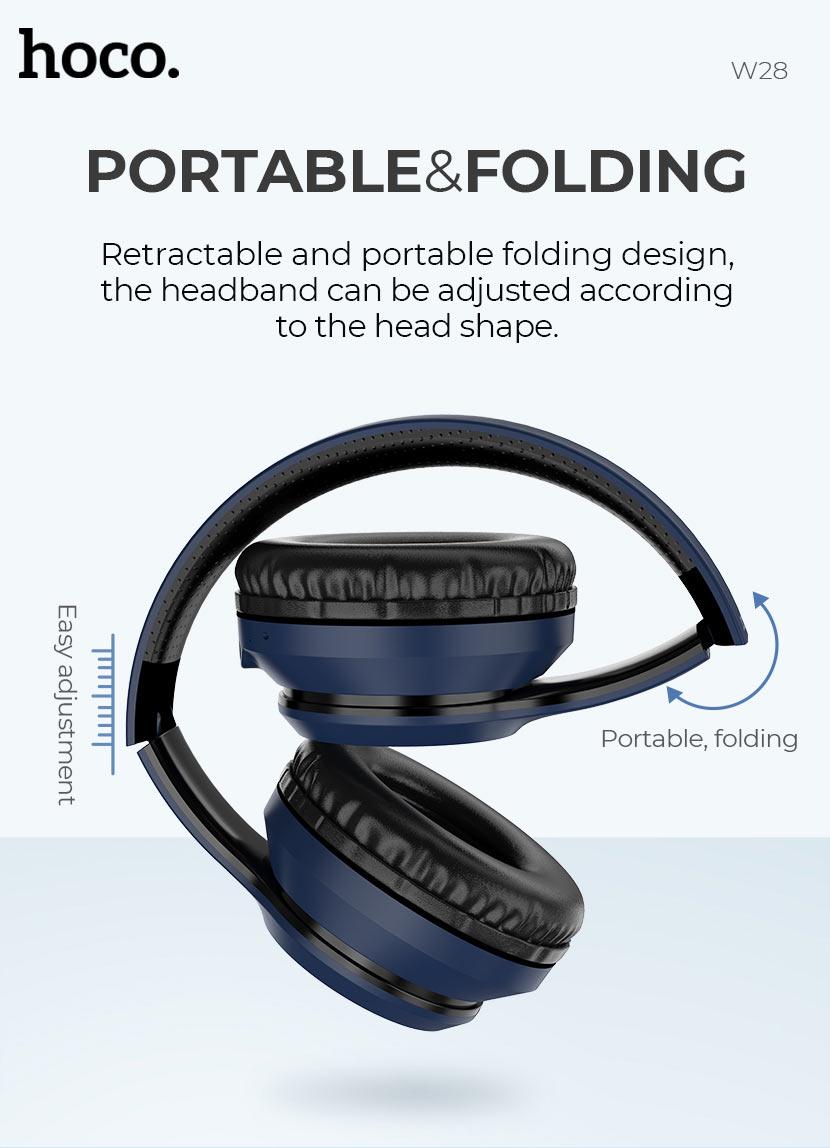 hoco news w28 journey wireless headphones folding en