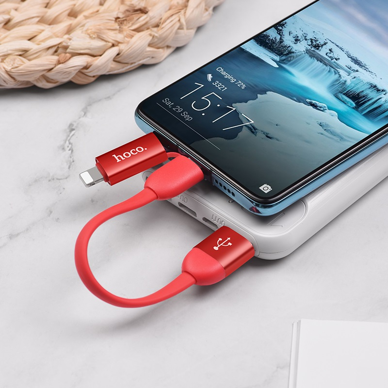 hoco u87 cool 2in1 silicone charging data cable for lightning type c 20cm charge red