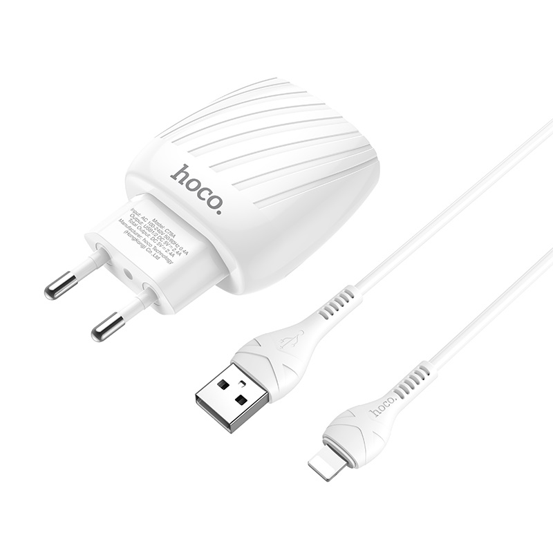 hoco c78a max energy dual port wall charger eu set with lightning cable connectors