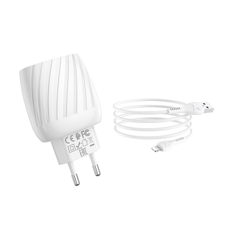 hoco c78a max energy зарядное устройство с двумя портами eu набор с кабелем lightning набор