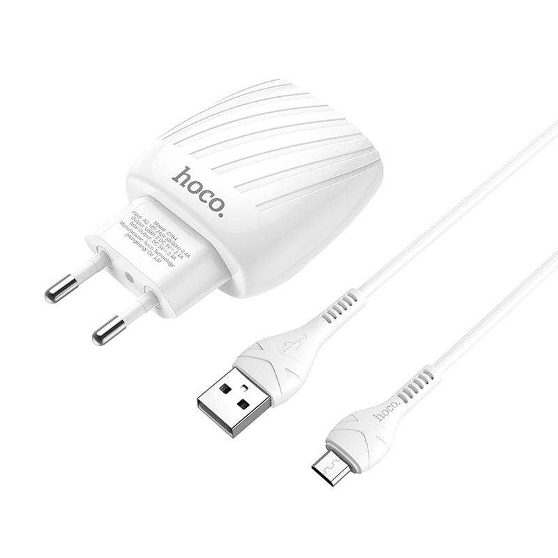 hoco c78a max energy зарядное устройство с двумя портами eu набор с кабелем micro usb коннекторы