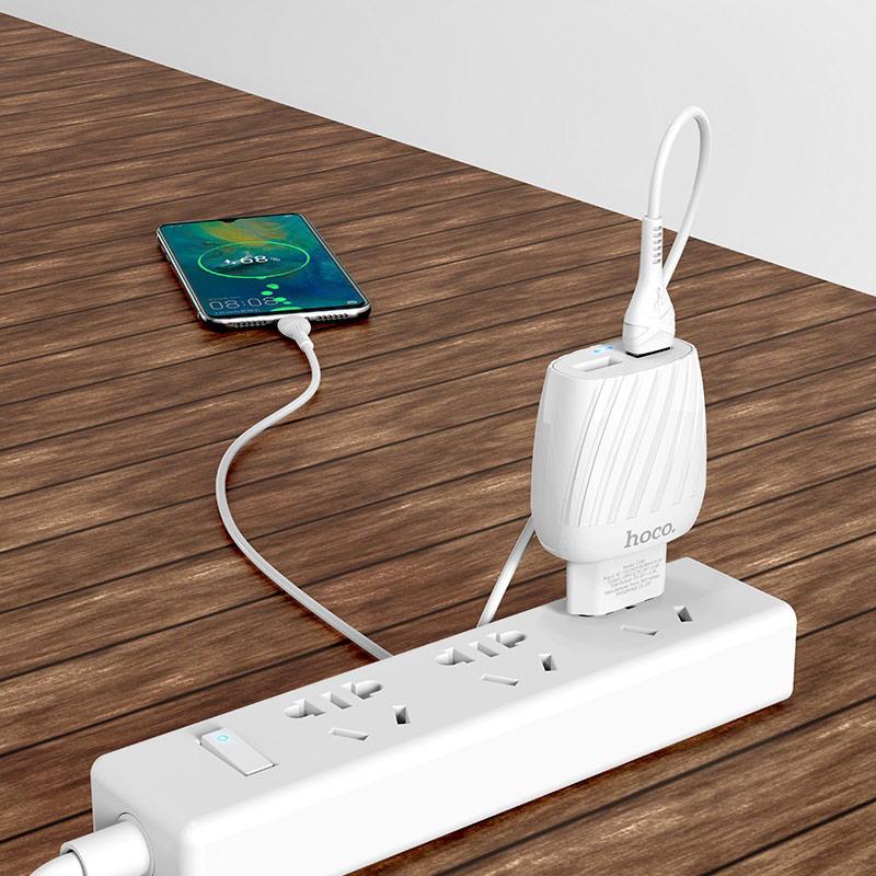 hoco c78a max energy зарядное устройство с двумя портами eu набор с кабелем micro usb интерьер