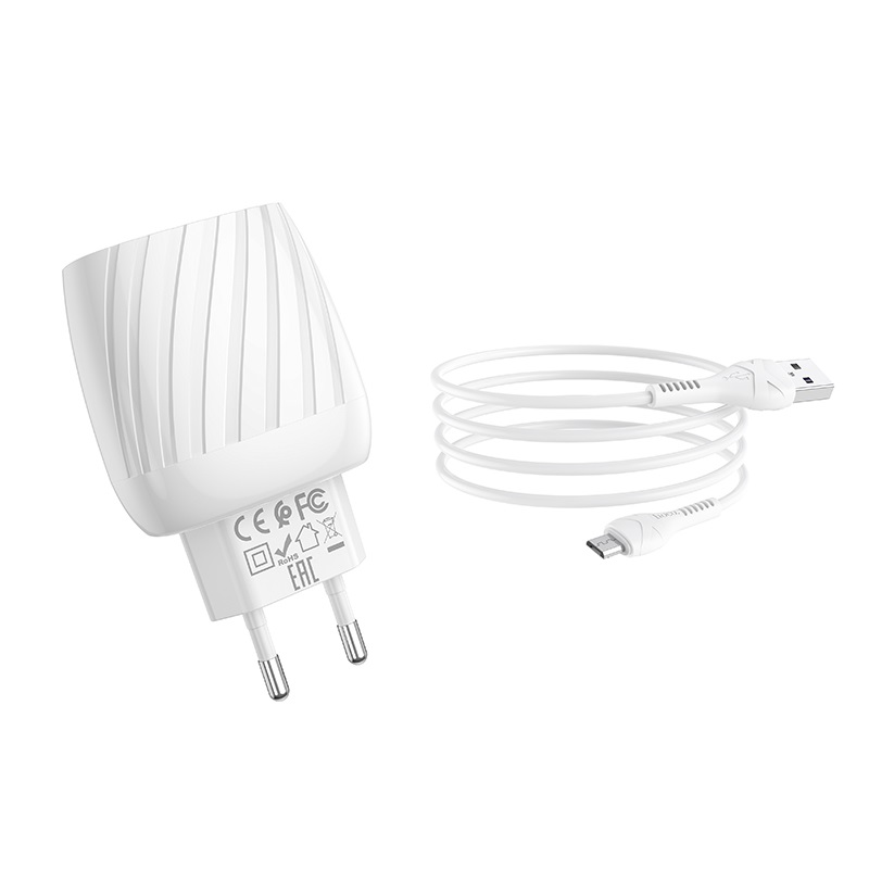 hoco c78a max energy зарядное устройство с двумя портами eu набор с кабелем micro usb набор