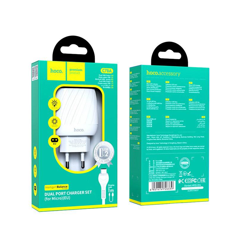 hoco c78a max energy зарядное устройство с двумя портами eu набор с кабелем micro usb упаковка