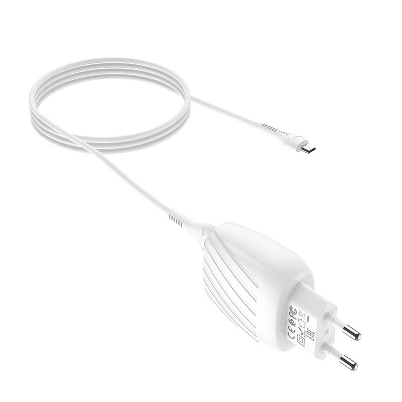 hoco c78a max energy зарядное устройство с двумя портами eu набор с кабелем micro usb провод