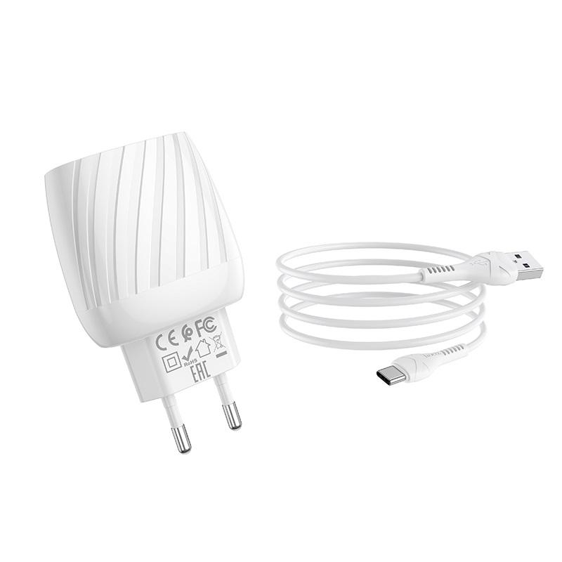 hoco c78a max energy зарядное устройство с двумя портами eu набор с кабелем type c набор