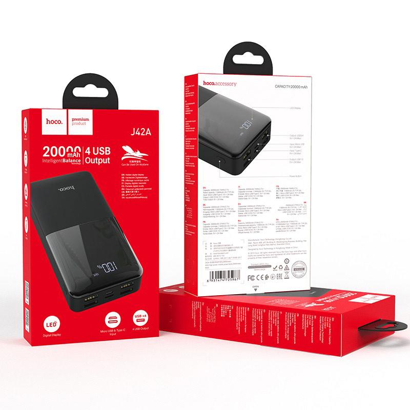 hoco j42a high power портативный аккумулятор 20000mah упаковка черный
