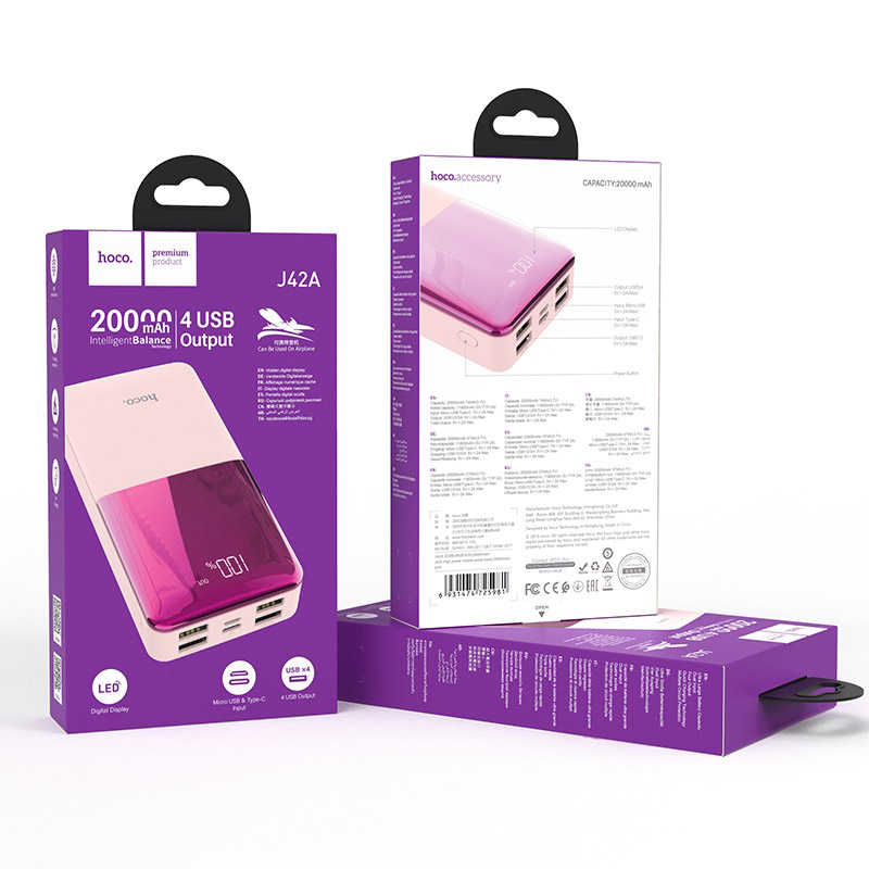 hoco j42a high power портативный аккумулятор 20000mah упаковка розовый